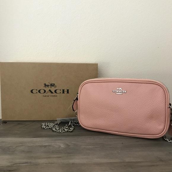 Coach Handbags - Coach Pink Pebble Leather Crossbody Bag NWT